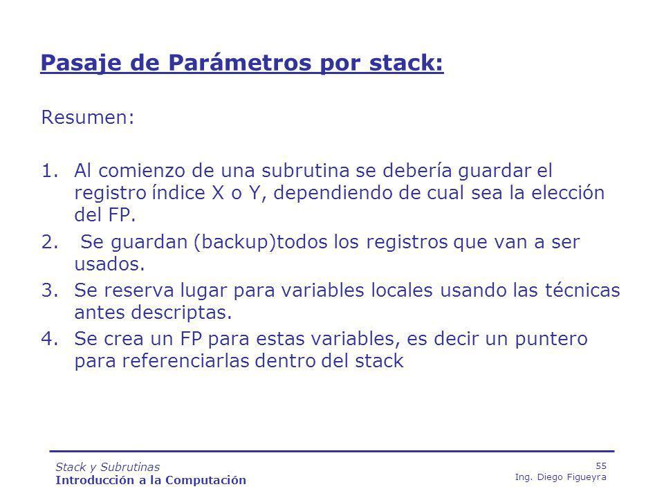 Stack y Subrutinas Introducción a la Computación 55 Ing.