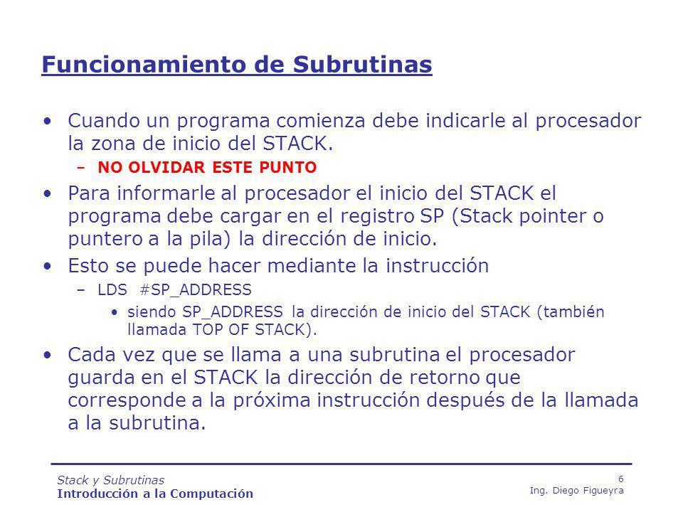 Stack y Subrutinas Introducción a la Computación 57 Ing.