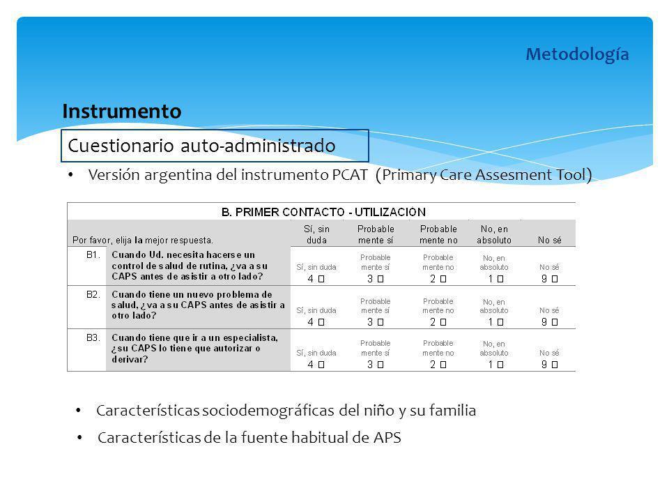 Cuestionario auto-administrado Metodología Características de la fuente habitual de APS Características sociodemográficas del niño y su familia Instru