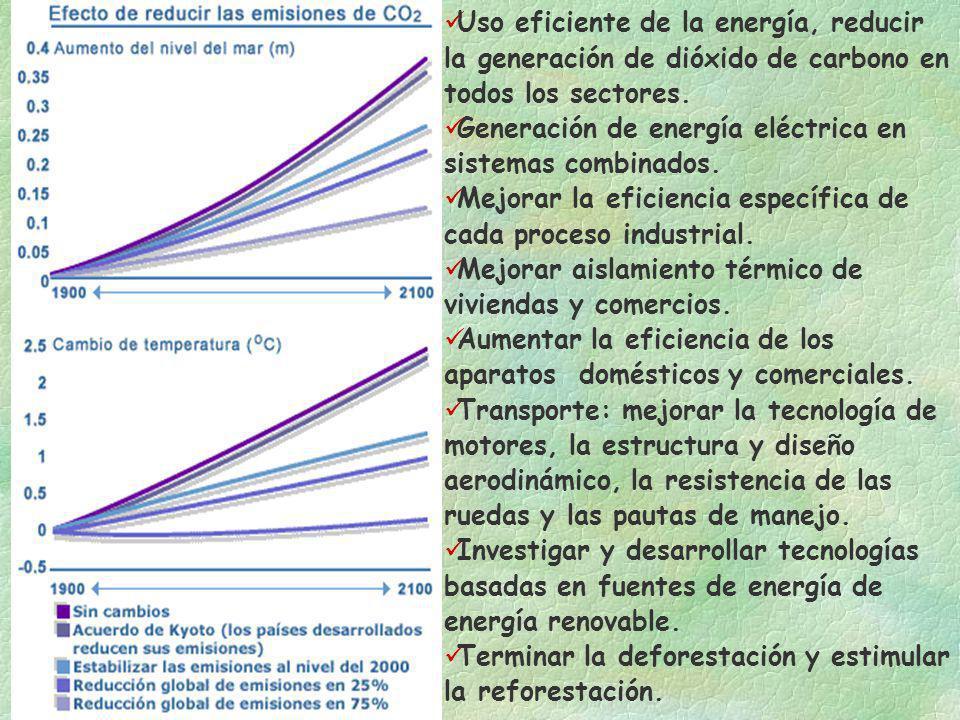 Uso eficiente de la energía, reducir la generación de dióxido de carbono en todos los sectores. Generación de energía eléctrica en sistemas combinados