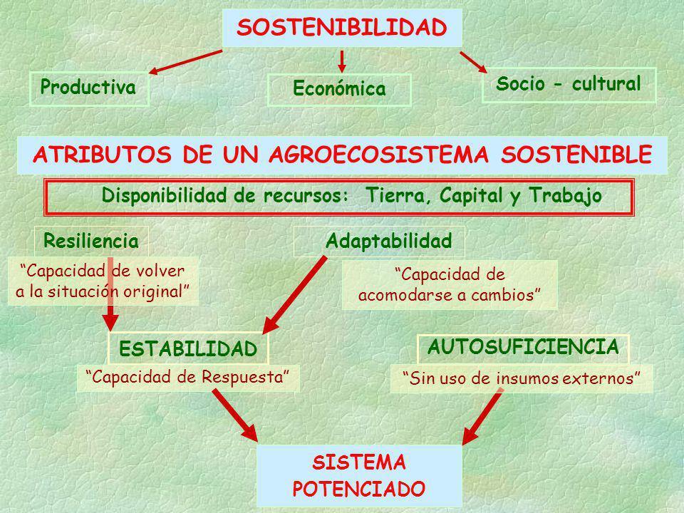 SOSTENIBILIDAD Productiva Económica Socio - cultural ATRIBUTOS DE UN AGROECOSISTEMA SOSTENIBLE Disponibilidad de recursos: Tierra, Capital y Trabajo A