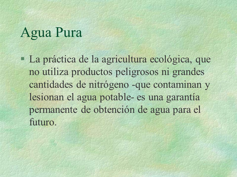 Agua Pura §La práctica de la agricultura ecológica, que no utiliza productos peligrosos ni grandes cantidades de nitrógeno -que contaminan y lesionan