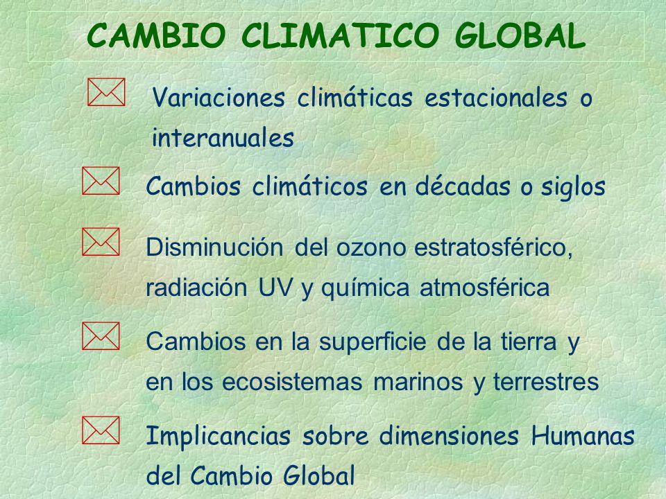 * Variaciones climáticas estacionales o interanuales * Cambios climáticos en décadas o siglos Disminución del ozono estratosférico, radiación UV y quí