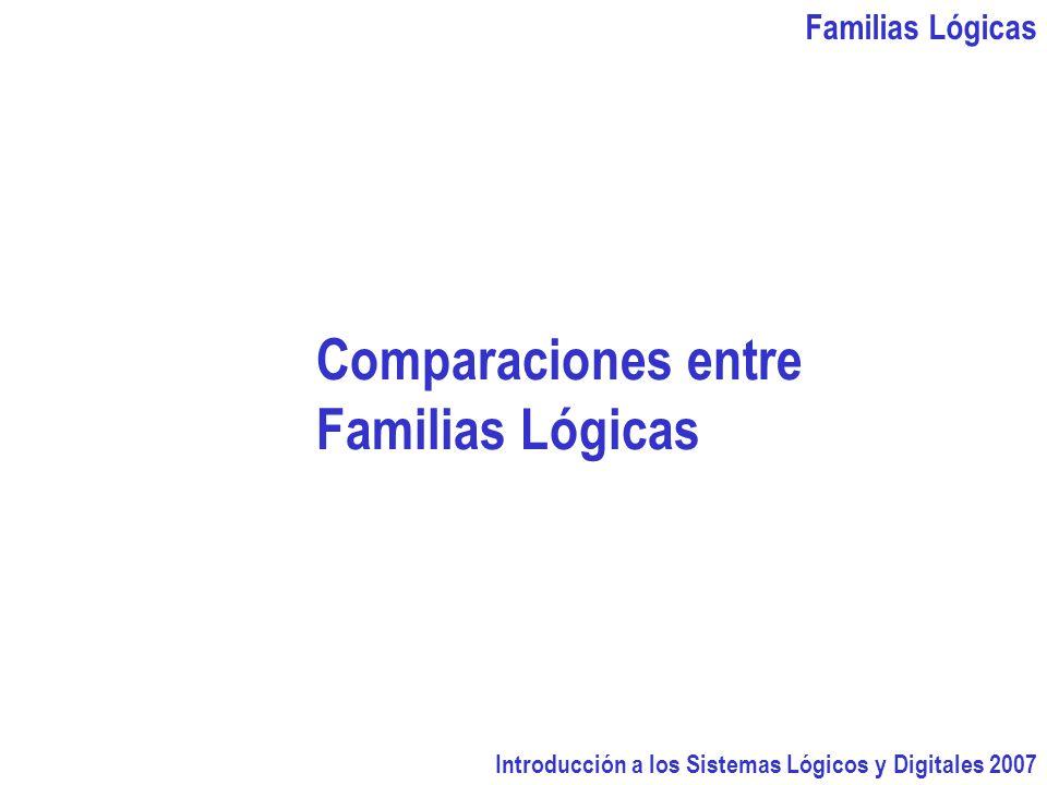 Familias Lógicas Introducción a los Sistemas Lógicos y Digitales 2007 Comparaciones entre Familias Lógicas