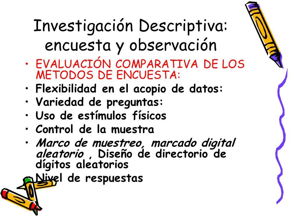 Investigación Descriptiva: encuesta y observación EVALUACIÓN COMPARATIVA DE LOS METODOS DE ENCUESTA: Flexibilidad en el acopio de datos: Variedad de p