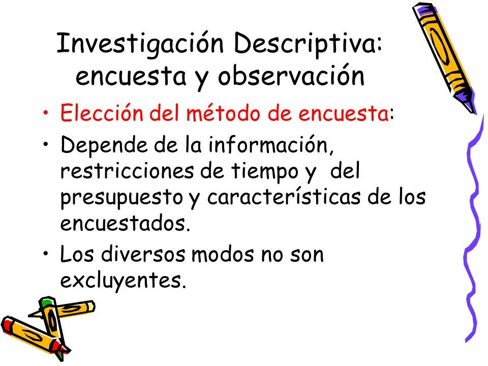 Investigación Descriptiva: encuesta y observación Elección del método de encuesta: Depende de la información, restricciones de tiempo y del presupuesto y características de los encuestados.