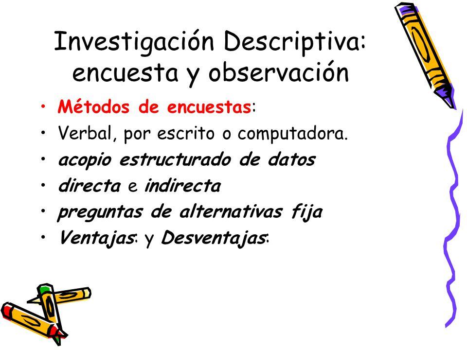 Investigación Descriptiva: encuesta y observación Métodos de encuestas: Verbal, por escrito o computadora. acopio estructurado de datos directa e indi