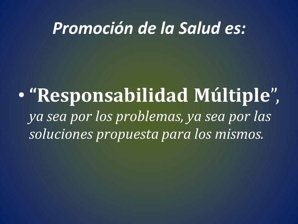 Promoción de la Salud es: Responsabilidad Múltiple, ya sea por los problemas, ya sea por las soluciones propuesta para los mismos.