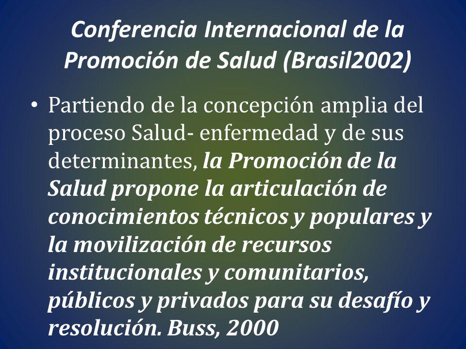 Conferencia Internacional de la Promoción de Salud (Brasil2002) Partiendo de la concepción amplia del proceso Salud- enfermedad y de sus determinantes