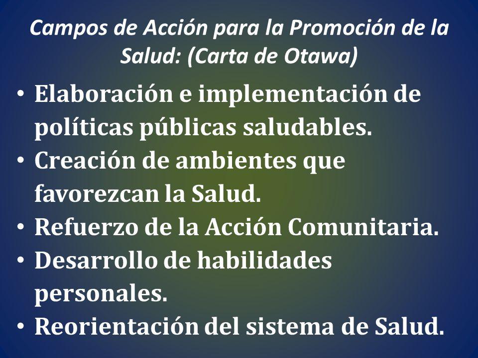 Campos de Acción para la Promoción de la Salud: (Carta de Otawa) Elaboración e implementación de políticas públicas saludables. Creación de ambientes