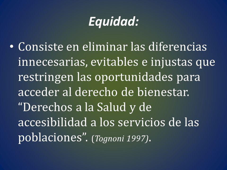 Equidad: Consiste en eliminar las diferencias innecesarias, evitables e injustas que restringen las oportunidades para acceder al derecho de bienestar