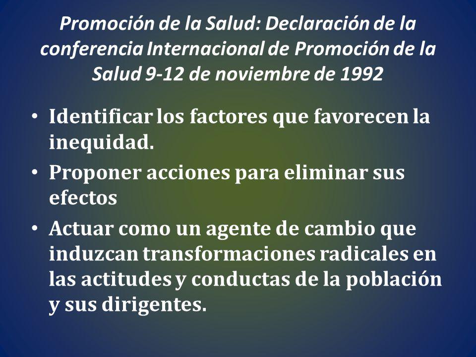 Promoción de la Salud: Declaración de la conferencia Internacional de Promoción de la Salud 9-12 de noviembre de 1992 Identificar los factores que fav