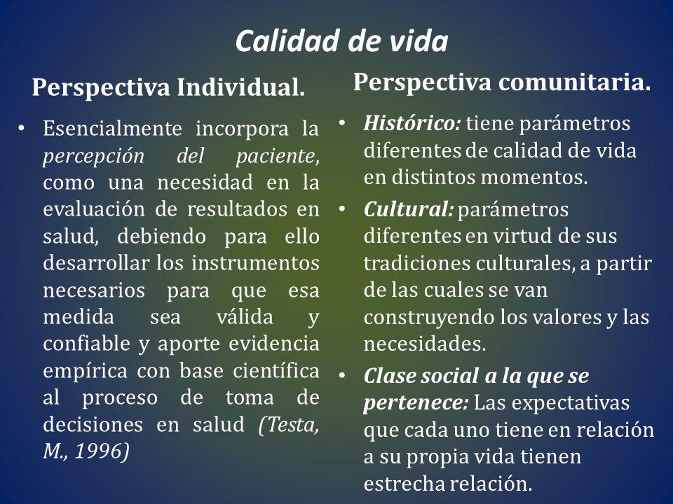 Calidad de vida Perspectiva Individual. Esencialmente incorpora la percepción del paciente, como una necesidad en la evaluación de resultados en salud