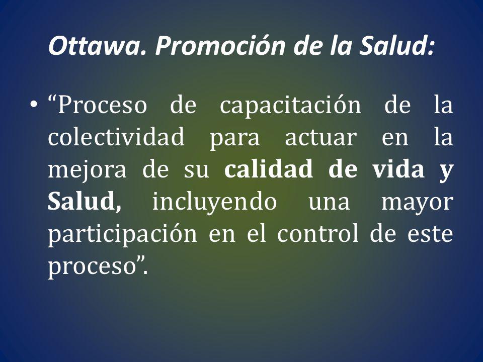 Ottawa. Promoción de la Salud: Proceso de capacitación de la colectividad para actuar en la mejora de su calidad de vida y Salud, incluyendo una mayor