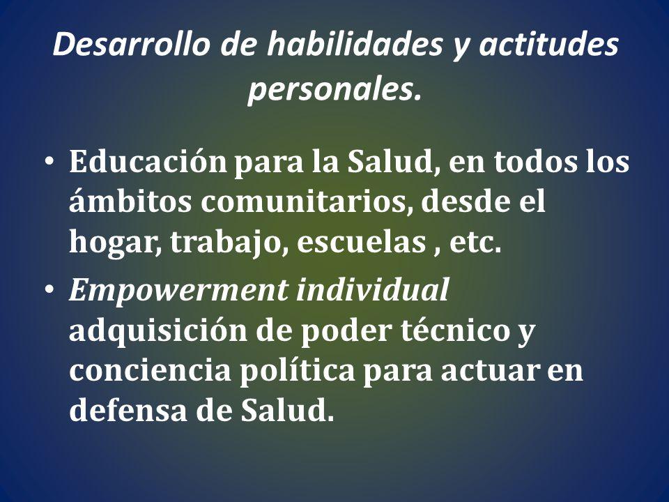 Desarrollo de habilidades y actitudes personales. Educación para la Salud, en todos los ámbitos comunitarios, desde el hogar, trabajo, escuelas, etc.