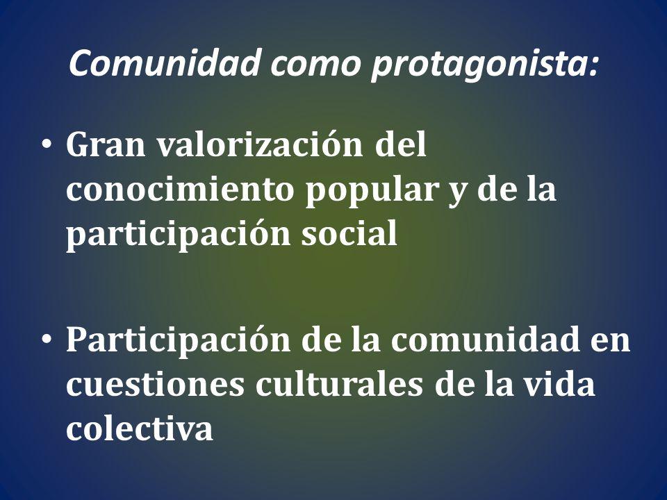 Comunidad como protagonista: Gran valorización del conocimiento popular y de la participación social Participación de la comunidad en cuestiones cultu