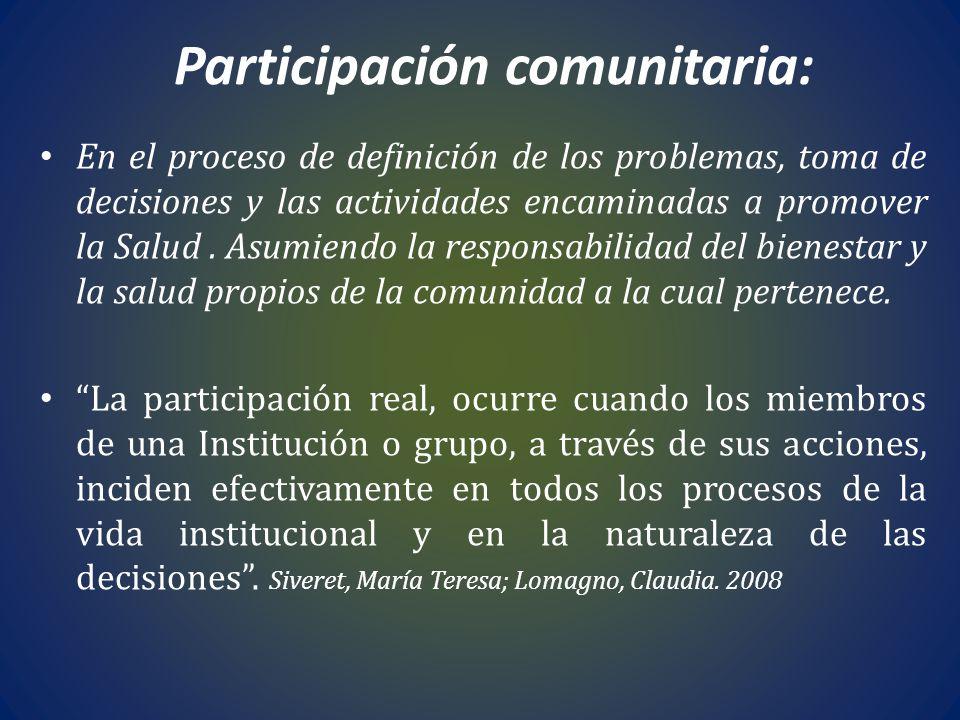 Participación comunitaria: En el proceso de definición de los problemas, toma de decisiones y las actividades encaminadas a promover la Salud. Asumien