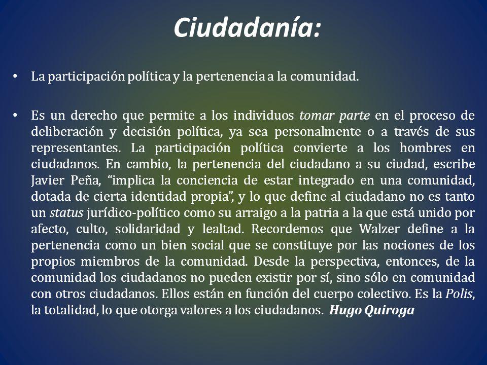 Ciudadanía: La participación política y la pertenencia a la comunidad. Es un derecho que permite a los individuos tomar parte en el proceso de deliber