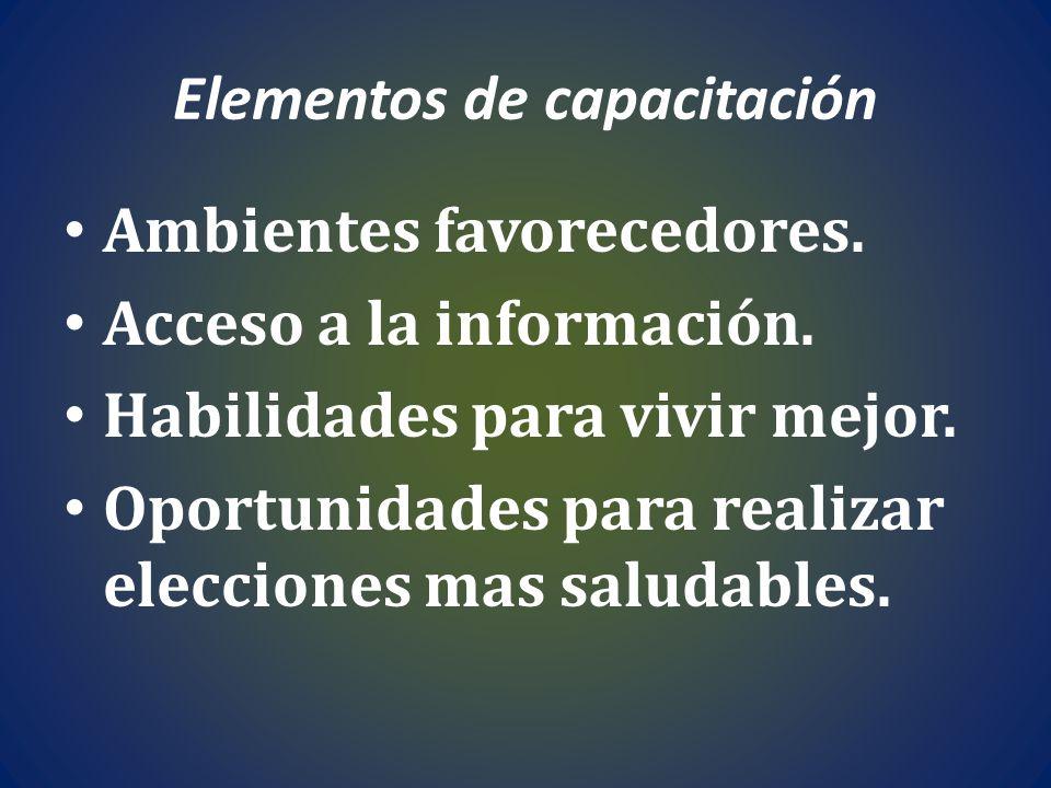 Elementos de capacitación Ambientes favorecedores. Acceso a la información. Habilidades para vivir mejor. Oportunidades para realizar elecciones mas s