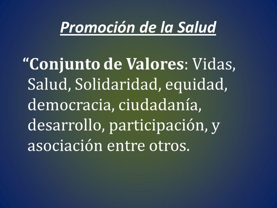Promoción de la Salud Conjunto de Valores: Vidas, Salud, Solidaridad, equidad, democracia, ciudadanía, desarrollo, participación, y asociación entre o