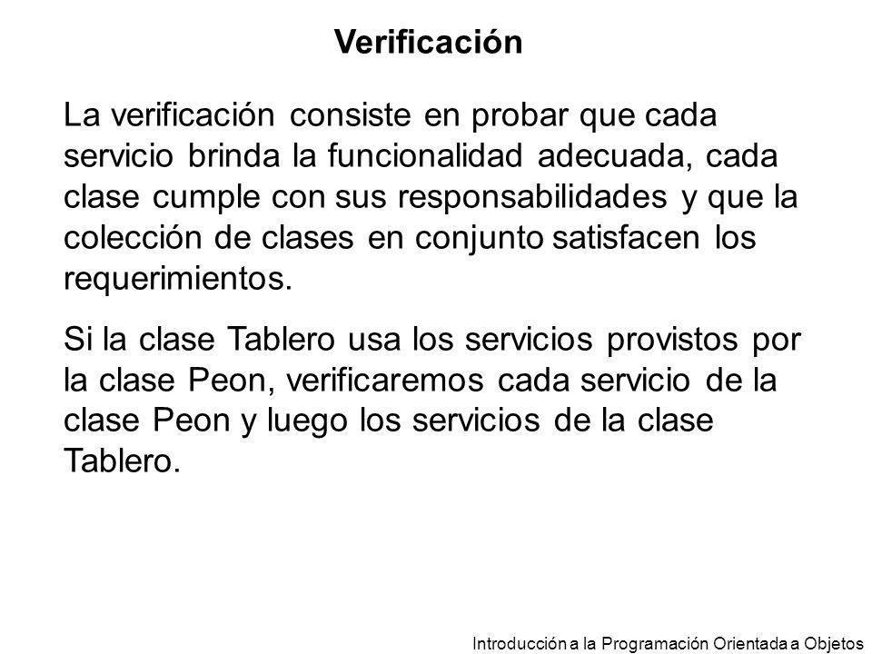 Verificación La verificación consiste en probar que cada servicio brinda la funcionalidad adecuada, cada clase cumple con sus responsabilidades y que