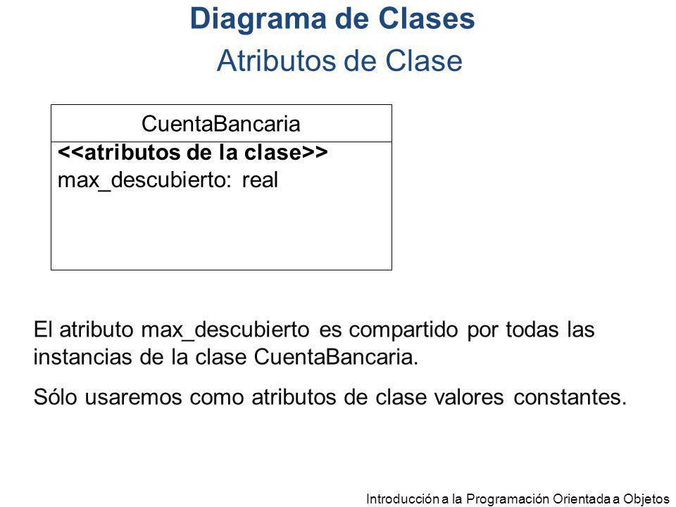 Introducción a la Programación Orientada a Objetos El atributo max_descubierto es compartido por todas las instancias de la clase CuentaBancaria. Sólo