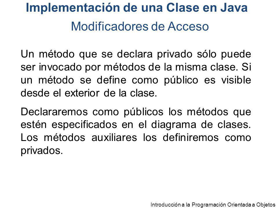 Introducción a la Programación Orientada a Objetos Modificadores de Acceso Implementación de una Clase en Java Un método que se declara privado sólo p