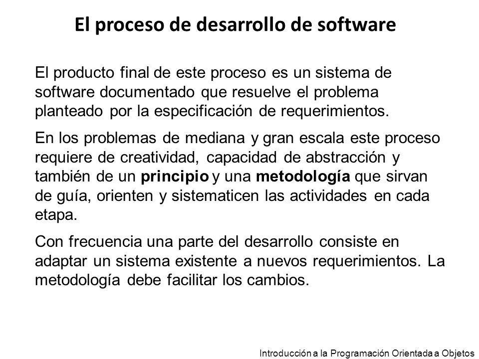 El proceso de desarrollo de software Introducción a la Programación Orientada a Objetos Principio Describe propiedades generales que se aplican a todo el proceso de desarrollo Metodología Conjunto integrado de métodos, estrategias y técnicas Métodos, estrategias y técnicas Reglas específicas que guían las actividades de cada etapa