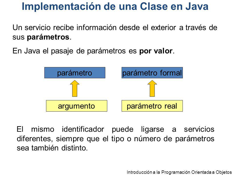 Introducción a la Programación Orientada a Objetos parámetro argumento parámetro formal parámetro real Un servicio recibe información desde el exterio