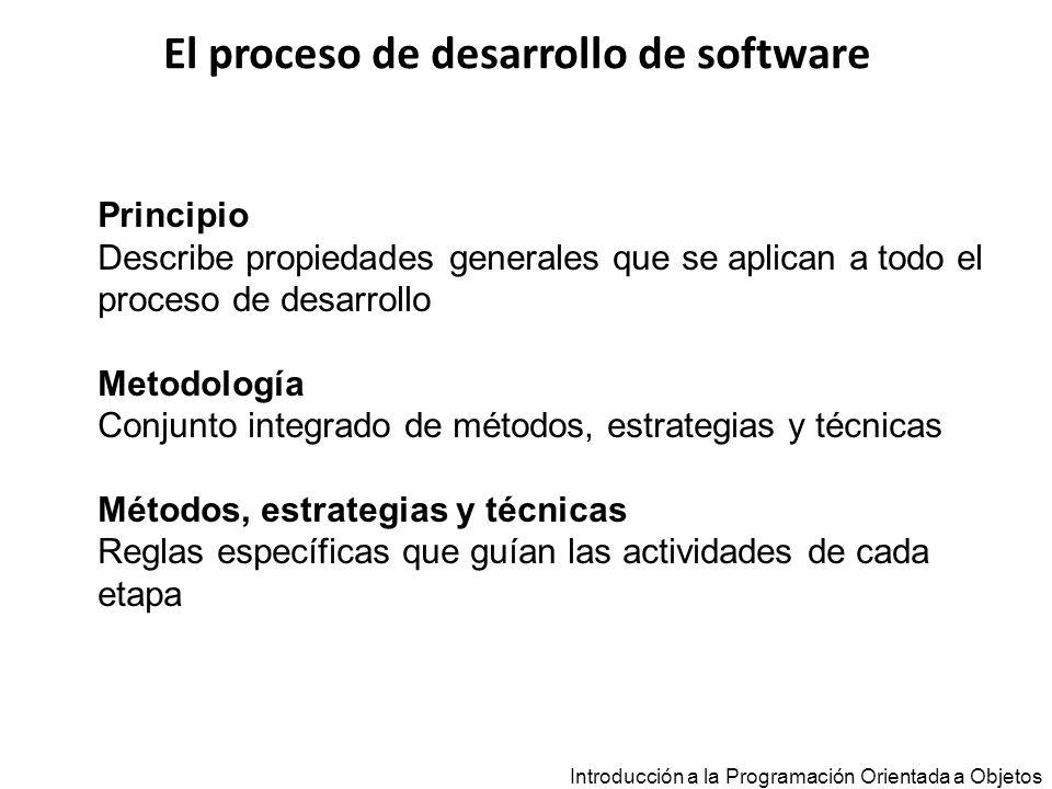El proceso de desarrollo de software Introducción a la Programación Orientada a Objetos Principio Describe propiedades generales que se aplican a todo