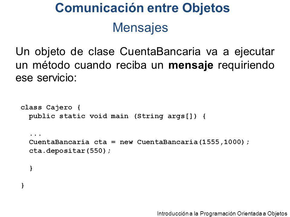 Introducción a la Programación Orientada a Objetos Mensajes Un objeto de clase CuentaBancaria va a ejecutar un método cuando reciba un mensaje requiri
