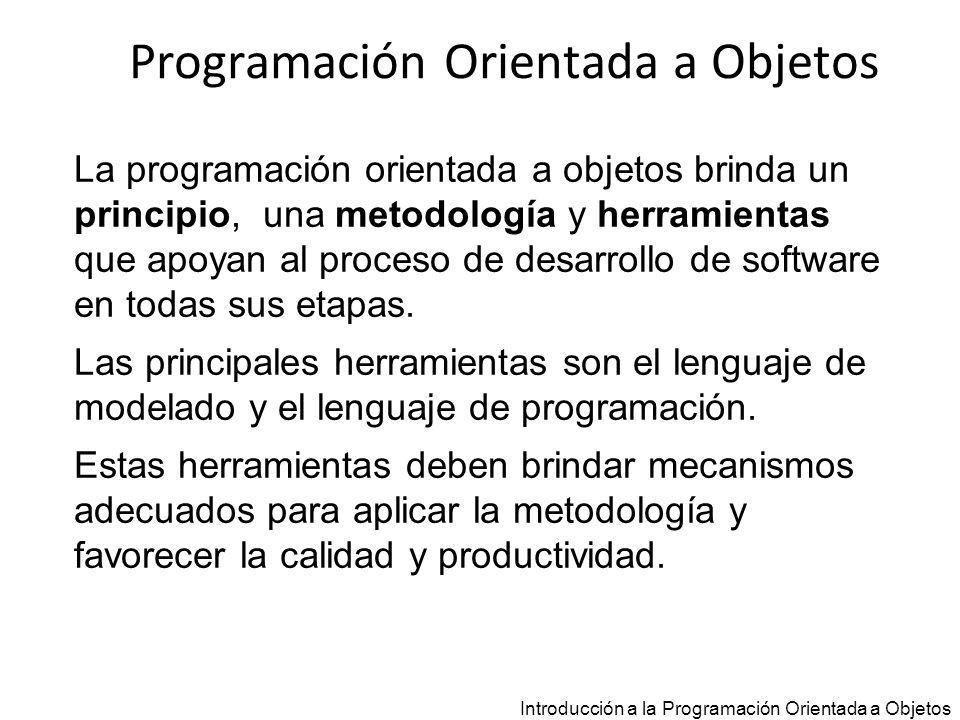 Introducción a la Programación Orientada a Objetos Testers class tester_CuentaBancaria { public static void main (String args[]) { CuentaBancaria cb; cb = new CuentaBancaria (125,100); cb.depositar(150); cb.extraer(60); } Le envía el mensaje extraer(60) al objeto ligado a la variable cb.