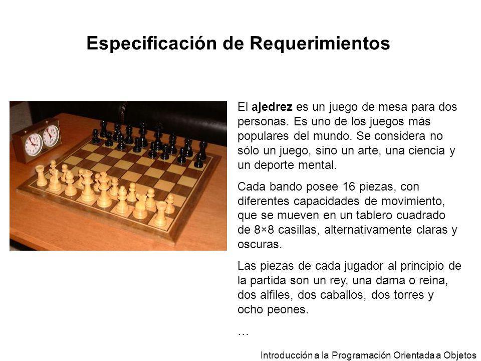 Especificación de Requerimientos El ajedrez es un juego de mesa para dos personas. Es uno de los juegos más populares del mundo. Se considera no sólo