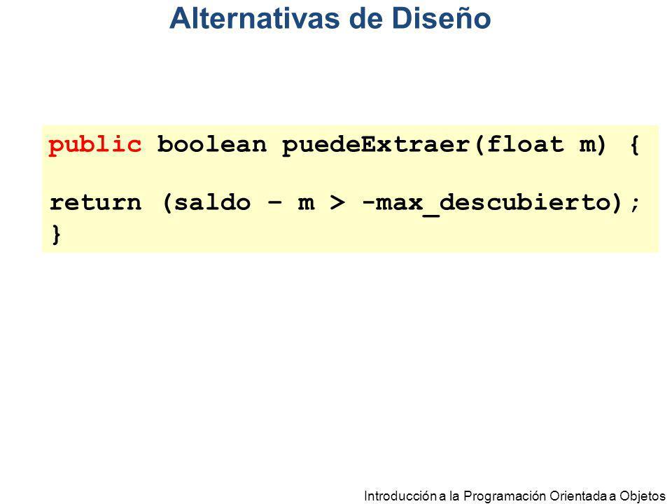 Introducción a la Programación Orientada a Objetos public boolean puedeExtraer(float m) { return (saldo – m > -max_descubierto); } Alternativas de Dis