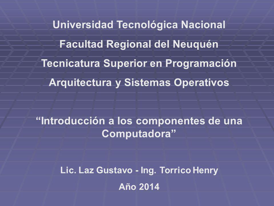 Universidad Tecnológica Nacional Facultad Regional del Neuquén Tecnicatura Superior en Programación Arquitectura y Sistemas Operativos Introducción a