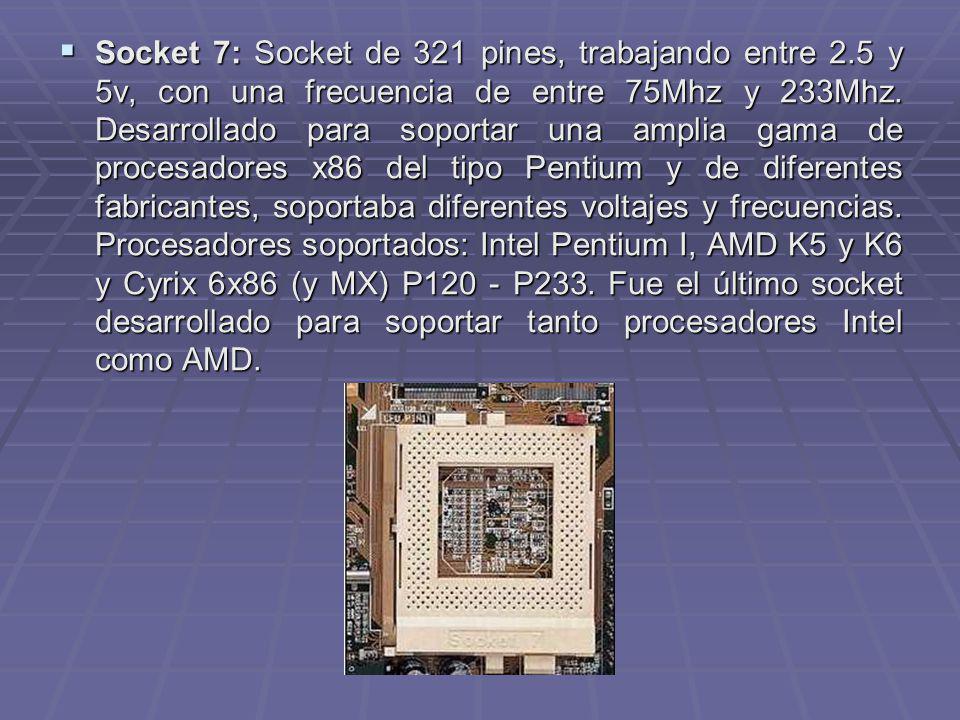 Socket 7: Socket de 321 pines, trabajando entre 2.5 y 5v, con una frecuencia de entre 75Mhz y 233Mhz. Desarrollado para soportar una amplia gama de pr