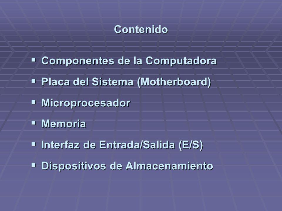 Contenido Componentes de la Computadora Componentes de la Computadora Placa del Sistema (Motherboard) Placa del Sistema (Motherboard) Microprocesador