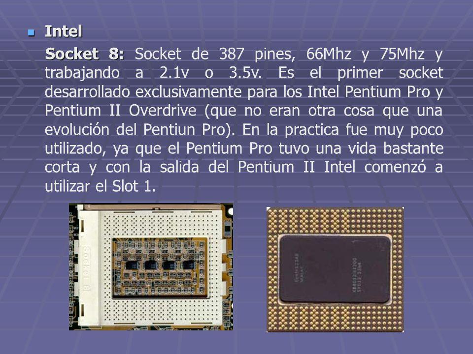 Intel Intel Socket 8: Socket 8: Socket de 387 pines, 66Mhz y 75Mhz y trabajando a 2.1v o 3.5v. Es el primer socket desarrollado exclusivamente para lo