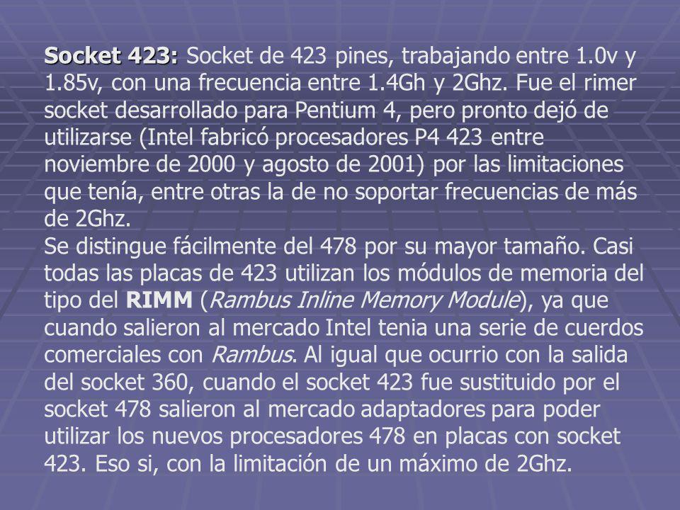 Socket 423: Socket 423: Socket de 423 pines, trabajando entre 1.0v y 1.85v, con una frecuencia entre 1.4Gh y 2Ghz. Fue el rimer socket desarrollado pa