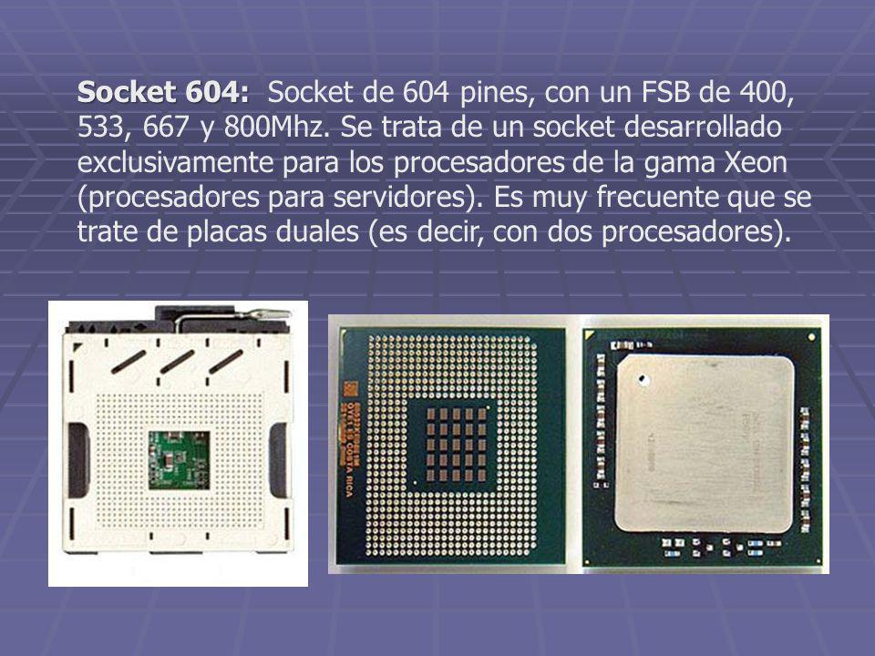 Socket 604: Socket 604: Socket de 604 pines, con un FSB de 400, 533, 667 y 800Mhz. Se trata de un socket desarrollado exclusivamente para los procesad
