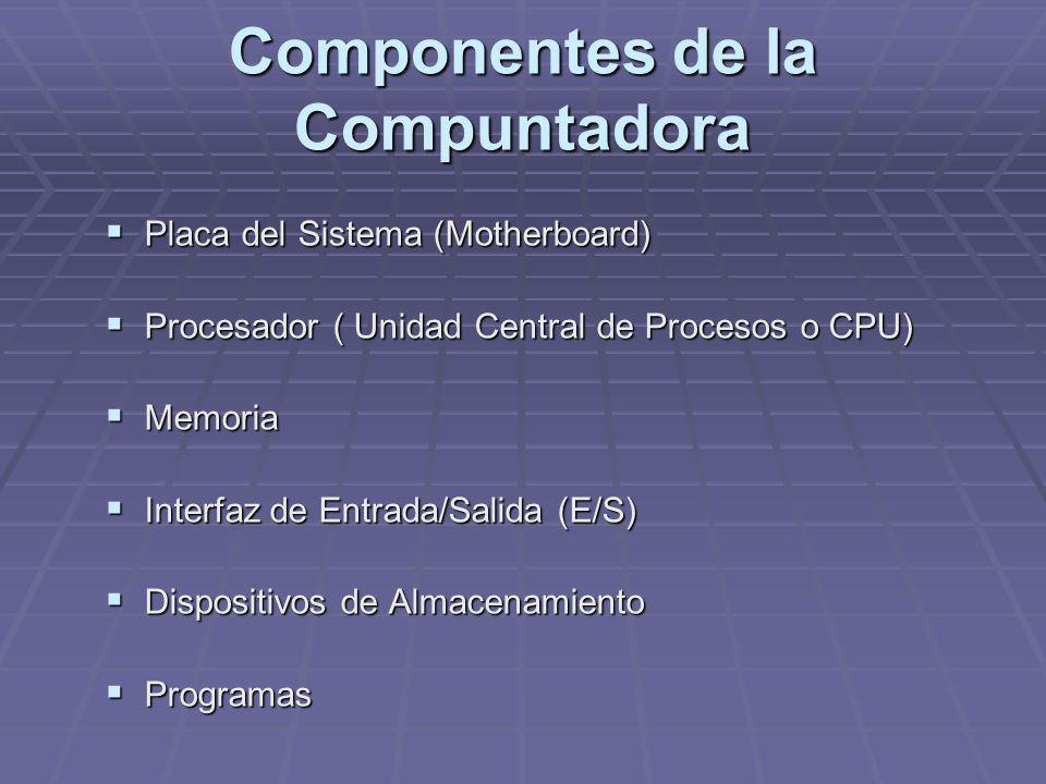 Componentes de la Compuntadora Placa del Sistema (Motherboard) Placa del Sistema (Motherboard) Procesador ( Unidad Central de Procesos o CPU) Procesad