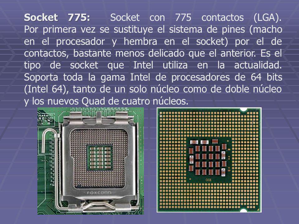 Socket 775: Socket 775: Socket con 775 contactos (LGA). Por primera vez se sustituye el sistema de pines (macho en el procesador y hembra en el socket