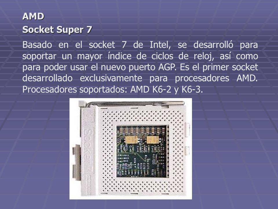 Basado en el socket 7 de Intel, se desarrolló para soportar un mayor índice de ciclos de reloj, así como para poder usar el nuevo puerto AGP. Es el pr