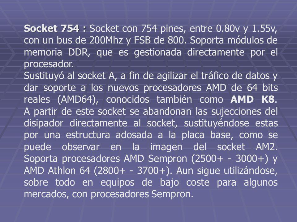 Socket 754 : Socket 754 : Socket con 754 pines, entre 0.80v y 1.55v, con un bus de 200Mhz y FSB de 800. Soporta módulos de memoria DDR, que es gestion