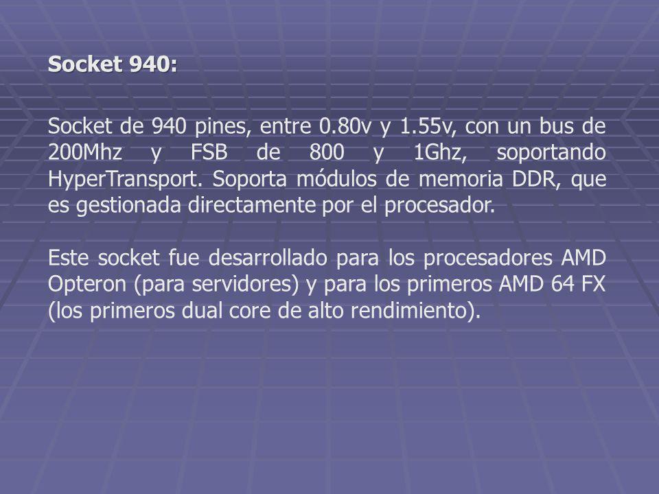 Socket de 940 pines, entre 0.80v y 1.55v, con un bus de 200Mhz y FSB de 800 y 1Ghz, soportando HyperTransport. Soporta módulos de memoria DDR, que es