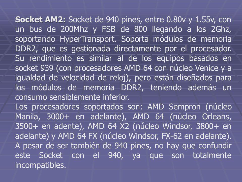 Socket AM2: Socket AM2: Socket de 940 pines, entre 0.80v y 1.55v, con un bus de 200Mhz y FSB de 800 llegando a los 2Ghz, soportando HyperTransport. So