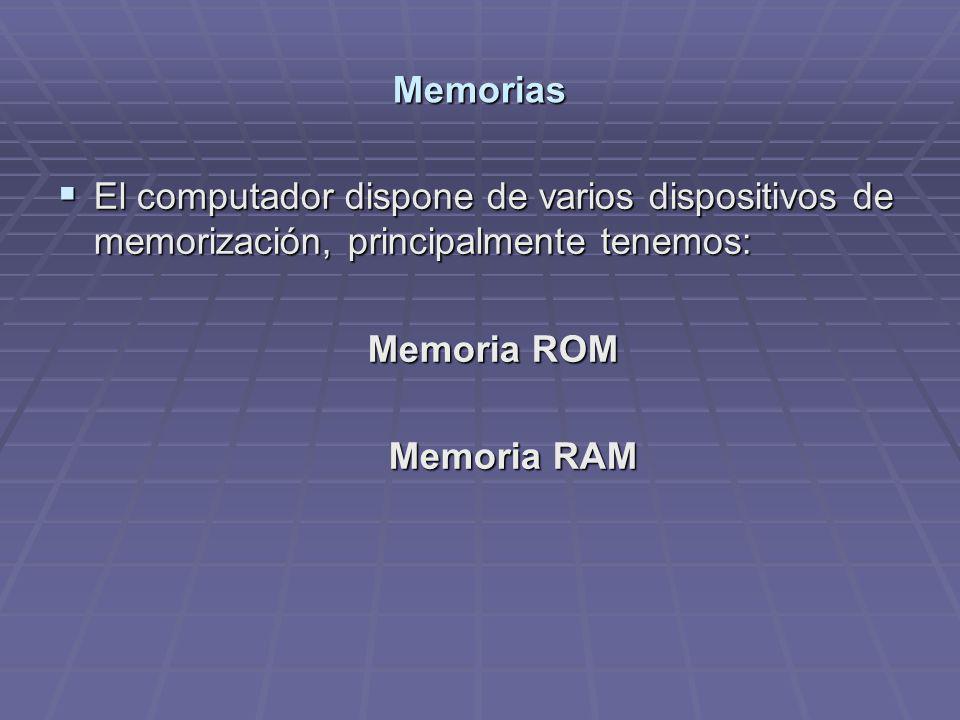 Memorias El computador dispone de varios dispositivos de memorización, principalmente tenemos: El computador dispone de varios dispositivos de memoriz