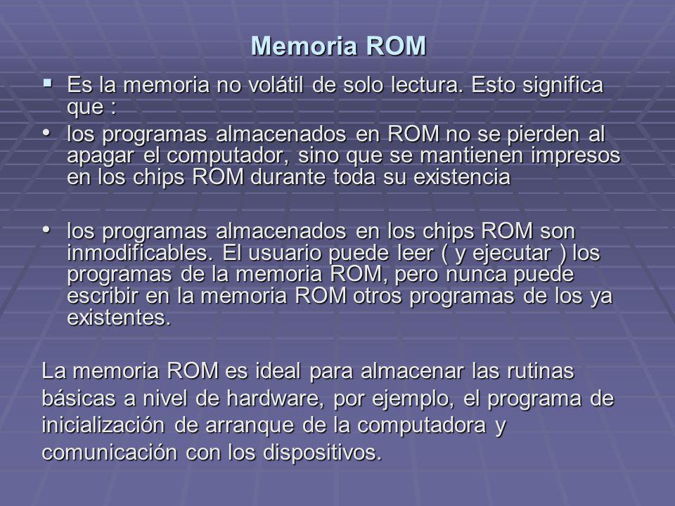 Memoria ROM Es la memoria no volátil de solo lectura. Esto significa que : Es la memoria no volátil de solo lectura. Esto significa que : los programa