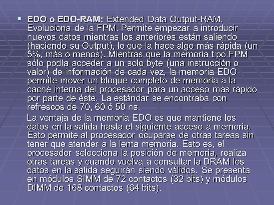EDO o EDO-RAM: Extended Data Output-RAM. Evoluciona de la FPM. Permite empezar a introducir nuevos datos mientras los anteriores están saliendo (hacie