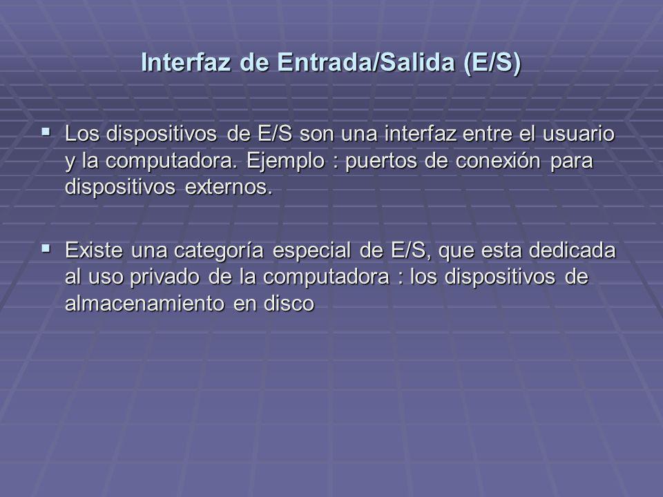 Interfaz de Entrada/Salida (E/S) Los dispositivos de E/S son una interfaz entre el usuario y la computadora. Ejemplo : puertos de conexión para dispos